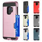 For Samsung Galaxy S9 / S9 PLUS Brushed Hybrid Card Case Phone Cover Accessory