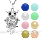 Silvery Hollow Owl Openable Cage Locket Pendant Ball Chain Necklace Set
