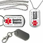 Medical Alert Gastric Bypass Dog Tag on a Key Chain or Ball Chain Necklace