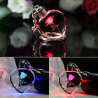 Charm Fairy Crystal Rose LED Light Keychain Love Heart Key Chain Ring Keyring