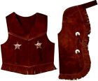 Внешний вид - WESTERN SADDLE HORSE GENUINE SUEDE LEATHER KIDS TODDLER CHAPS AND VEST ALL SIZES