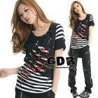 PUNK STRIPED 2LAYER CUT CROPPED TREND MAX SHIRT TOP 71208 BW ML