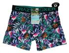 CRAZY BOXER Tropical Colorful Flowers Green Blue Pink Blk Boxer Briefs Mens NWT