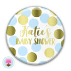 Personalised BLUE & GOLD DOT Boy's (58 mm) Baby Shower PIN BADGE