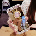 Luxury Bling Diamond Crystal Ring Holder Mirror Case Cover For iPhone Samsung S9