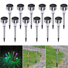 12x Garden Outdoor Stainless Steel LED Solar Landscape Path Lights Yard Lamp Top