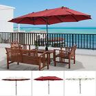 15' Double-Sided Patio Umbrella Twin Sun Canopy Market Shade Outdoor Garden