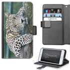 Cat Leopard Phone Case, PU Leather Side Flip Phone Cover For Apple/Samsung