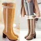 Women's Winter Warm Pull On Fur Furry Buckle Strap Knee High Boots Shoes Plus Sz