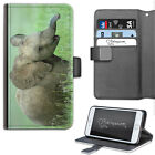 HAIRYWORM ANIMAL BABY ELEPHANT IN GRASS LEATHER WALLET PHONE CASE, FLIP CASE