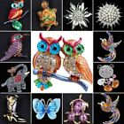 Cat Butterfly Elephant Owl Crystal Animal Brooch Pin Jewelry To Mom Family Gift