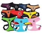 Dog Puppy Soft Mesh Harness - Paw Design - 4 Sizes - 10 Colors