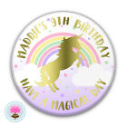 Personalised Girl's Gold Foil UNICORN Sparkle Rainbow (58 mm) PIN BADGE