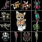 Dragonfly Owl Cat Bird Bee Animal Crystal Pearl Brooch Pin Women Jewelry Gift