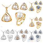 Womens Fashion Jewelry Set Pearl Triangular Necklace Earrings Ring Hot Selling!