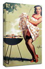 Smoke Screen Pin Up CANVAS LARGE WALL ART vintage lingerie stockings heels