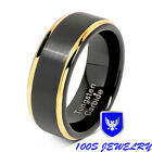 two tone wedding bands - Tungsten Rings For Men Black Gold Two Tone Brushed Wedding Bands Size 8-15