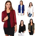 Womens Ladies Lace 3/4 Sleeve Open Blazer Jacket Party Shrug Evening Wrap Top