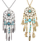 Women Dream Catcher Turquoise Feather Charm Pendant Jewelry Long Chain Necklace