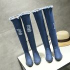 Lady's Blue Ripped Denim Over Knee Boots Cuban Heel Round Toe Shoes UK Size O078