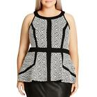 City Chic Womens Mixed Media Printed Sleeveless Peplum Top Blouse Plus BHFO 0193 <br/> Guaranteed Authentic  City Chic MSRP:  $69.00