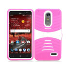 ZTE ZMAX One Z719DL Hard Gel Rubber KICKSTAND Case Protector Cover +Screen Guard