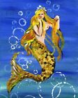 Pretty Bubbles Blond Happy Swimming Mermaid Sea Ocean Nautical Wall Art
