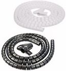 2M CABLE TIDY Black White TV Desk Spiral Trunking Flexible Wrap Wire Organiser