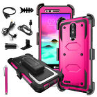 LG Stylo 3 HYBRID Shockproof Armor Rugged Hard Case Cover Clip Holster+Accessory