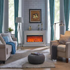Elegant Electric Fireplace White or Black Remote Control Traditional Design