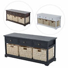 storage with bench - Entryway Wooden Storage Bench with 3 Drawers Baskets Home Furniture Organizer
