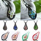 Fashion Flower Murano Lampwork Glass Pendant Necklace Leather Charm Jewelry Gift