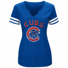 Women's Majestic Royal/White Chicago Cubs Decisive Moment V-Notch T-Shirt on Ebay