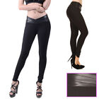 Sexy Womens Faux Leather Waist Pants Leggings Stretchy Black