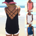 Women Summer Spaghetti Strap Vest Tank Tops Casual Backless T-shirt Blouse Sexy