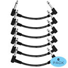6x 6' Guitar Patch Cables Right Angle 1/4 Instrument Cable for Effect Pedal Sale