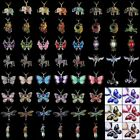 Retro Women Crytal Butterfly Horse Pendant Necklace Sweater Chain Jewelry Gift image