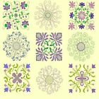Anemone Quilt Squares 1 -Machine Embroidery CD-45 Designs by Anemone Embroidery
