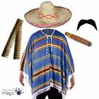 Mexican Poncho Fancy Dress Costume Bandit Western Accessory Stag Party Outfit