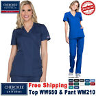 Cherokee Scrubs Set ORIGINAL Uniform Mock Wrap TOP & Cargo Pant_WW650/WW210