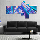 Designart 'Blue Yellow Fractal Stained Glass' Abstract Canvas Art Print