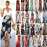Womens Maxi Boho Floral Summer Beach Long Dress Evening Cocktail Split Sun Dress