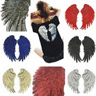1Pair Decor Iron-On Embroidered Patch large Angel Wings Applique Motif Sequins