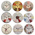 30CM 12'' Large Vintage Wooden Wall Clock Kitchen Antique Shabby Retro Home
