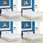 Vintage Crochet Lace Ruffle Elastic Band Bed Skirt S/M/L/XL Size image