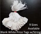 Внешний вид - Blank White Merchandise Price Tags w/ String Retail Jewelry Strung Large Small