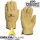 Tough Cowhide Leather Water Repellent Safety Work Gloves HGV Drivers Gardening