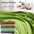Large Throw Soft 100% Cotton Knit Blanket Thick Knit Throw Bed Sofa Decorative