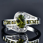 White Gold Filled Olive Green Oval Cut Peridot Ring Wedding Jewelry Gift Sz 6-10 image