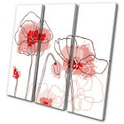 Red Poppies Abstract Flowers Floral TREBLE CANVAS WALL ART Picture Print